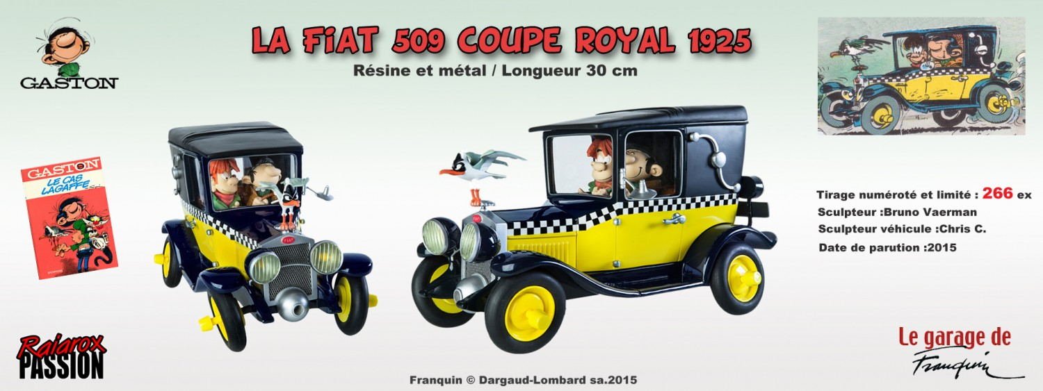 Gaston Lagaffe Fiat 509 coupé royal 1925 - Statuette résine 30 cm