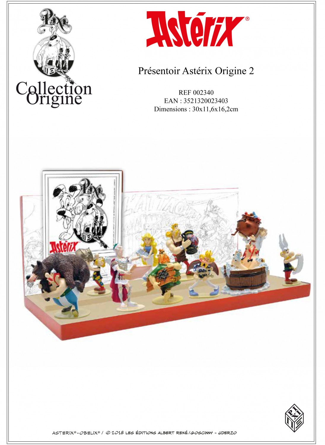 ASTERIX: COLLECTION ORIGINE  2 - ENSEMBLE DE 10 FIGURINES PIXI + PRÉSENTOIR